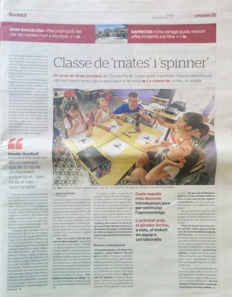 Article a El Periódico sobre el spinners