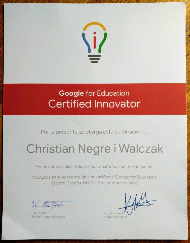 Diploma Google Innovator Google Christian Negre i Walczak