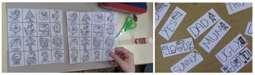 Nombrar en inglés un vocabulario en inglés a partir de dibujos o relacionar palabras contrarias.