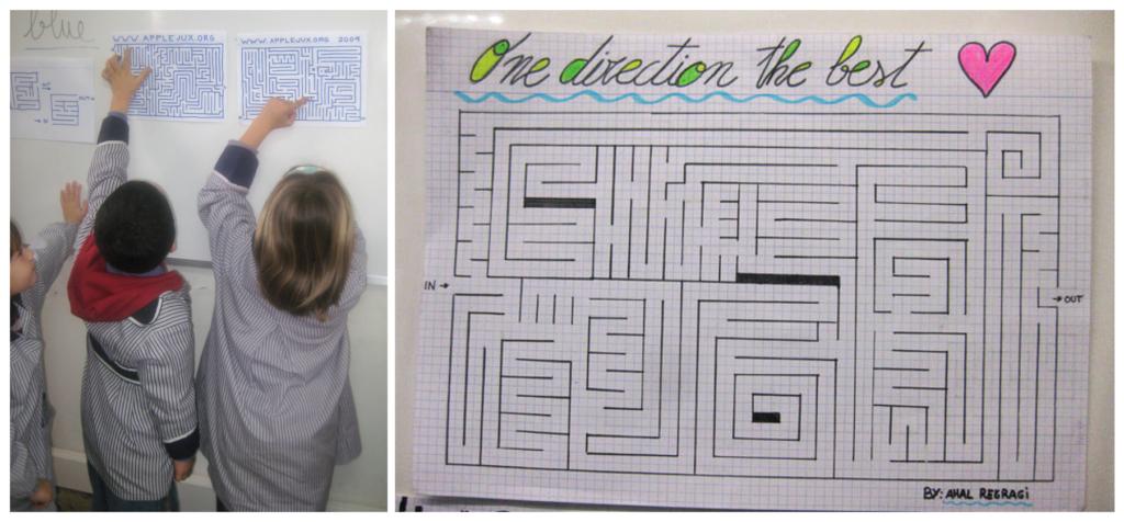 Alumnos de primaria juegan a resolver laberintos diseñados por alumnos de secundaria.