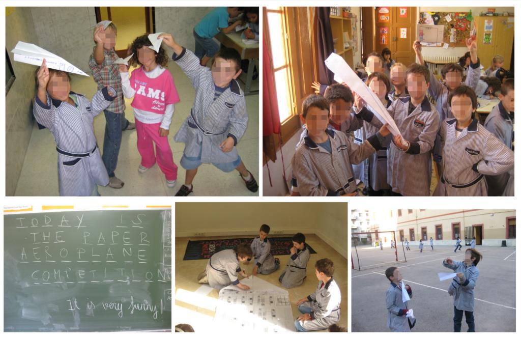 La competición de aviones de papel es uno de los proyectos más populares entre los alumnos.